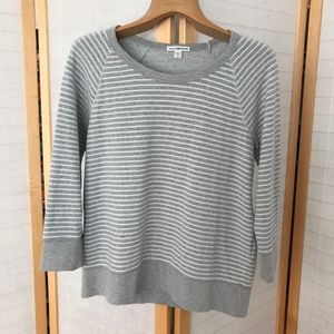 James Perse 100% cotton grey striped long Sleeve T